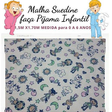 Malha Suedine Bicharada para Pijama Infantil 1,50cm x 1.70m