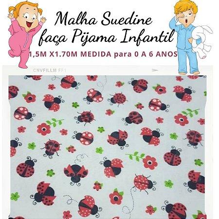 Malha Suedine Joaninha para Pijama Infantil 1,50cm x 1.70m