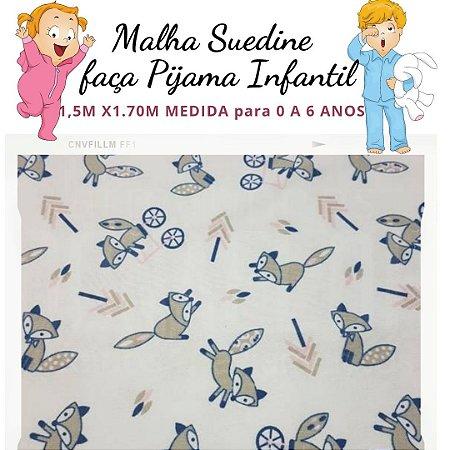 Malha Suedine Raposas para Pijama Infantil 1,50cm x 1.70m