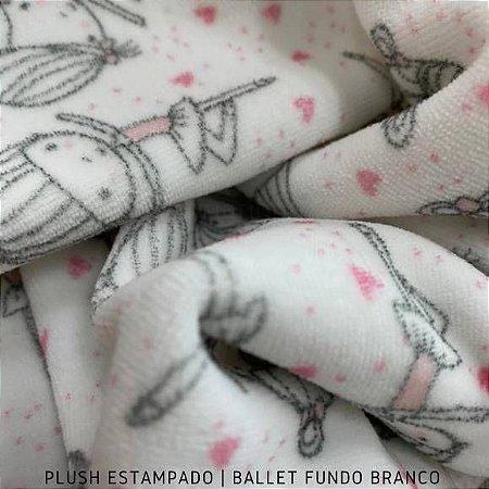 Plush Bailarina fundo Branco tecido Toque Aveludado