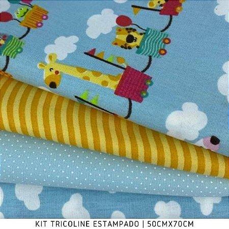 Kit Tricoline 4tecidos MINI ZOO fundo Azul 50cmx70cm cada