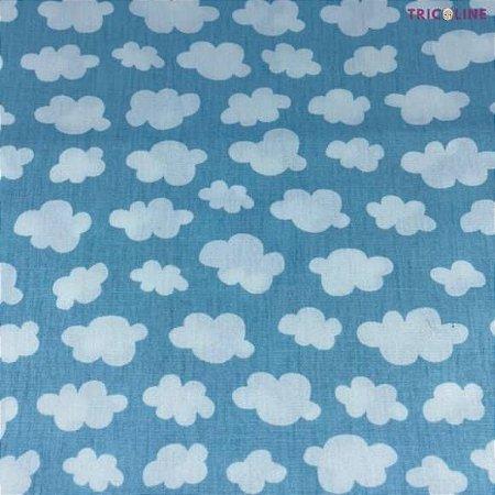 Tricoline Nuvens fundo Azul 50cmX1,40m