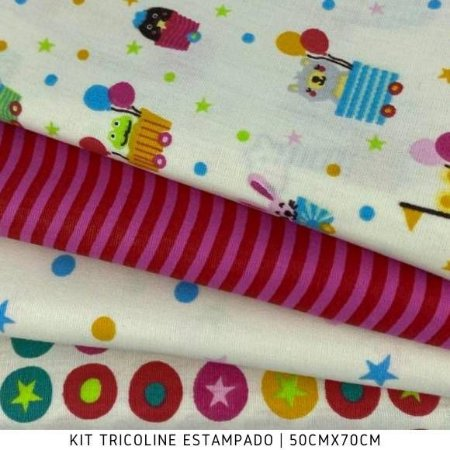 Kit Tricoline 4tecidos MINI ZOO fundo Branco 50cmx70cm cada