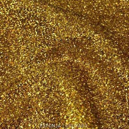 Esponja Lurex Dourada tecido Metalizado para Artesanatos