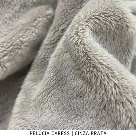 Pelúcia Caress Cinza Prata tecido pelo Baixo, Macia e não Desfia