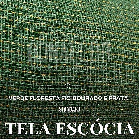 Tela Escócia Verde  Floresta Fio Dourado e Prata  50cmX65cm