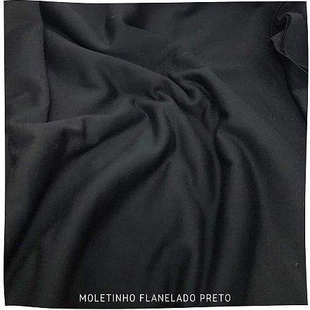 Moletinho Flanelado Preto tecido Leve para Pijamas