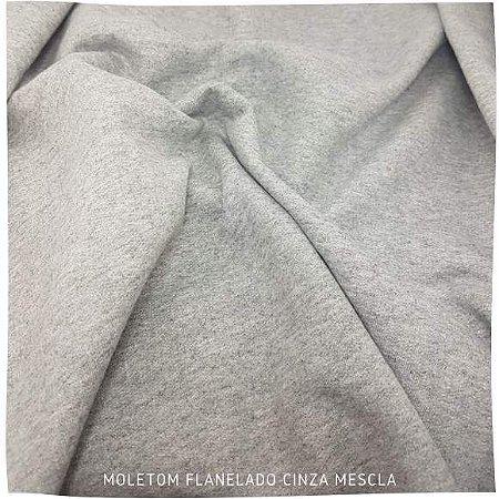 Moletom Flanelado Cinza Mescla tecido base Firme (tubular)