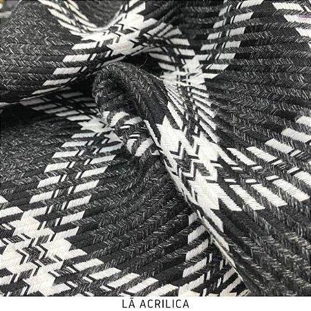 Lã Preto Quadrados tecido quente para Roupas em Geral