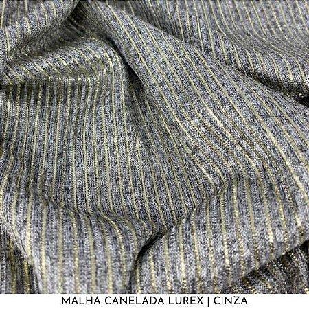 Malha Canelada Cinza com fios Dourados Lurex tecido toque Macia e Elástica