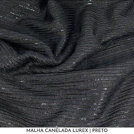 Malha Canelada Preto fios Dourados Lurex tecido toque Macia e Elástica
