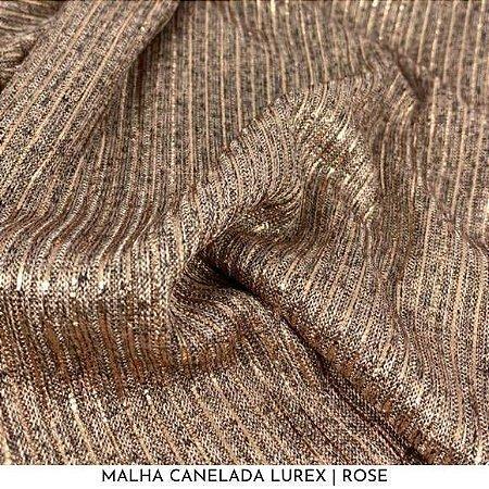 Malha Canelada Rose fios Dourados Lurex tecido toque Macia e Elástica