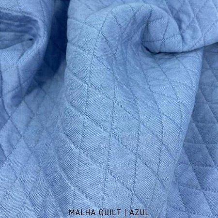 Malha Quilt Matelassê Azul tecido textura Firme e formatos de Losangos