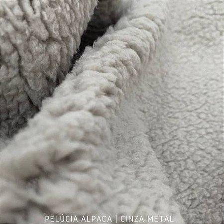 Alpaca Cinza Metal tecido pelo Encaracolado base Macia