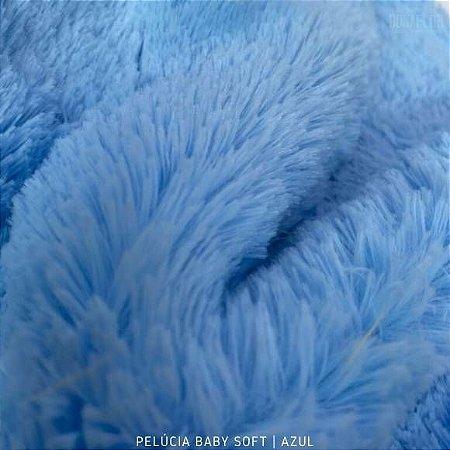 Pelúcia Baby Soft Azul Bebê tecido pelô12mm Médio e Macia