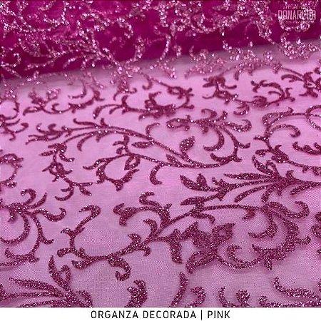 Organza Decorada Pink tecido transparente e firme