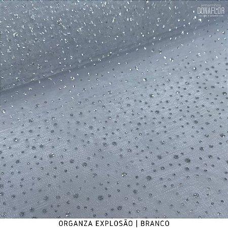 Organza Explosão Branco tecido transparente e firme
