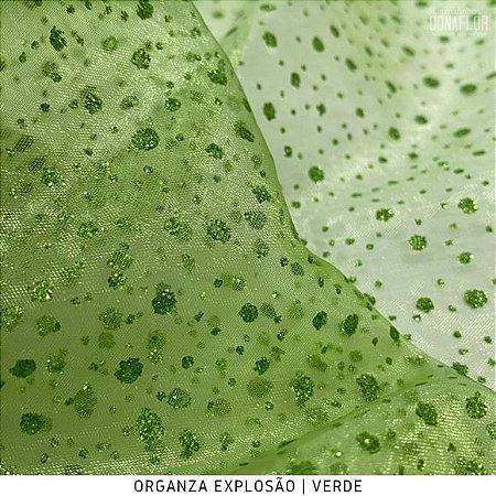Organza Explosão Verde tecido transparente e firme