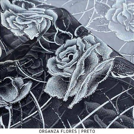 Organza Flores Preto tecido transparente e firme
