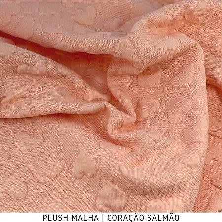 Plush Malha Amabile Coração fundo Salmão tecido Maleável e estruturado