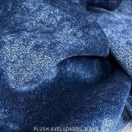 Plush Azul Jeans tecido toque Aveludado e Leve Brilho