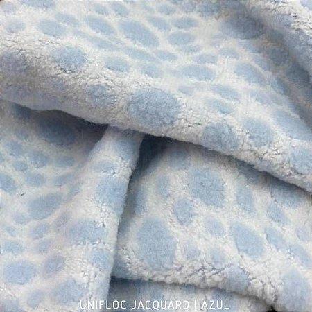Unifloc Jacquard Azul tecido Peluciado 1.65m de Largura