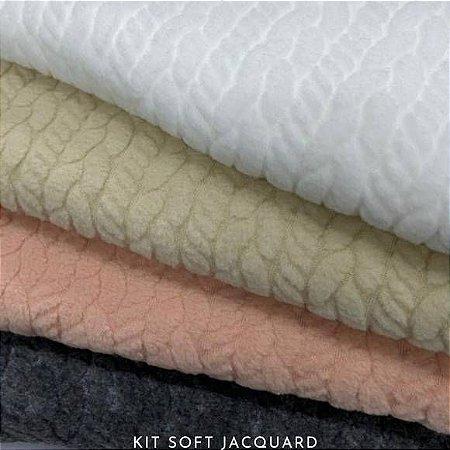 Kit Soft Tricô Jacquard Texturizado 4Tecidos toque Hipoalérgico
