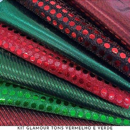 Kit Glamour Tecidos Vermelho e Verde Metalizados, Lantejoulas e Brilhos, 7Recortes