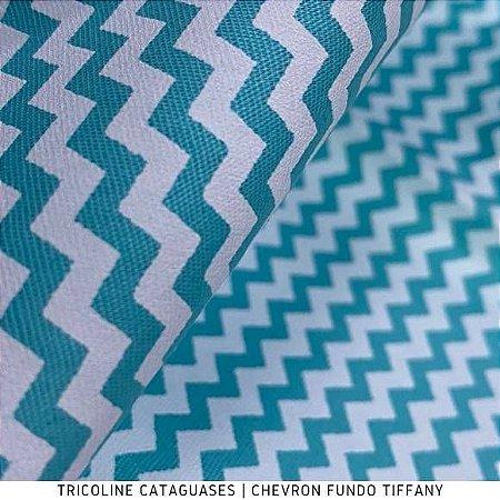 Tricoline Chevron Azul Tiffany tecido 100%Algodão - 1,40Largura