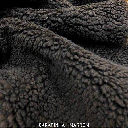 Carapinha Marrom tecido pelúcia pelô Encaracolado e base firme