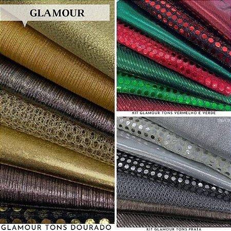 Combo Glamour Tecidos Metalizados Dourado e Prateado, Lantejoulas e Brilhos, 3Kits