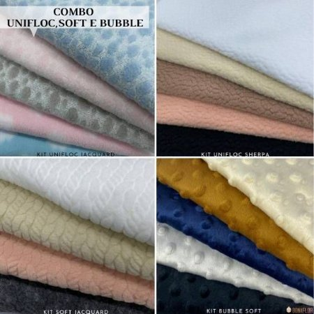 Combo Soft Tricô, Unifloc Jacquard, Sherpa e Bubble Soft, Artesanato 4Kits 19Recortes