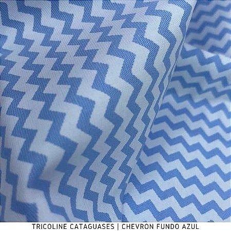 Tricoline Chevron Azul Bebê tecido 100%Algodão - 1,40Largura