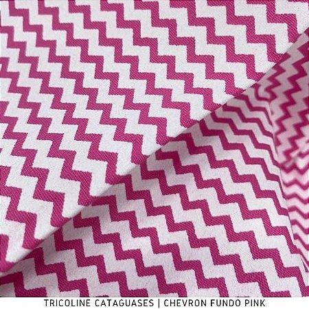 Tricoline Chevron Pink tecido 100%Algodão - 1,40Largura