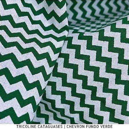 Tricoline Chevron Verde Bandeira tecido 100%Algodão - 1,40Largura