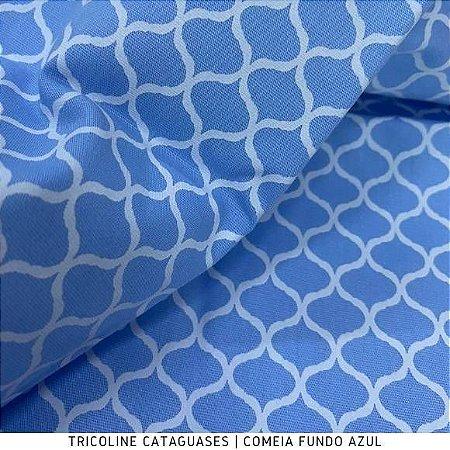 Tricoline Colméia Azul tecido Cataguases 100%Algodão - 1,40Largura