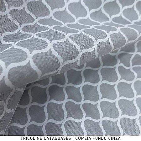 Tricoline Colméia Cinza tecido Cataguases 100%Algodão - 1,40Largura