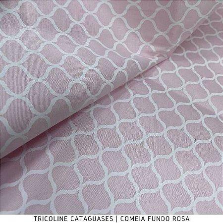 Tricoline Colméia Rosa Bebê tecido Cataguases 100%Algodão - 1,40Largura