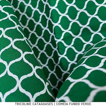 Tricoline Colméia Verde Bandeira tecido Cataguases 100%Algodão - 1,40Largura