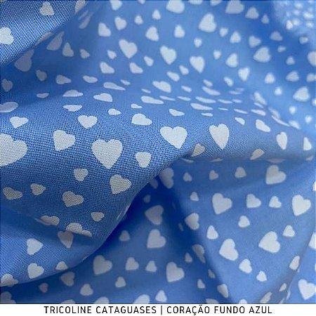 Tricoline Coração Azul tecido Cataguases 100%Algodão - 1,40Largura