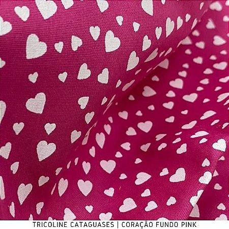 Tricoline Coração Pink tecido Cataguases 100%Algodão - 1,40Largura