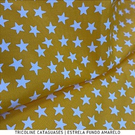 Tricoline Estrela Amarelo tecido Cataguases 100%Algodão - 1,40Largura