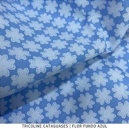 Tricoline Flor Azul tecido Cataguases 100%Algodão - 1,40Largura