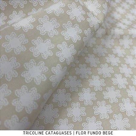 Tricoline Flor Bege tecido Cataguases 100%Algodão - 1,40Largura