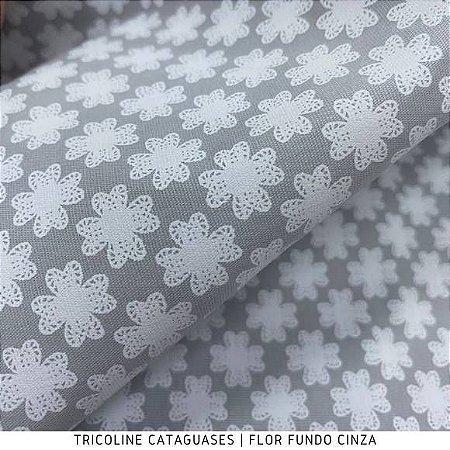Tricoline Flor Cinza tecido Cataguases 100%Algodão - 1,40Largura