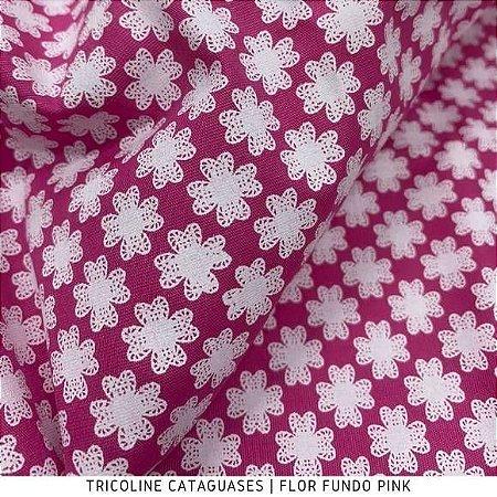 Tricoline Flor Pink tecido Cataguases 100%Algodão - 1,40Largura
