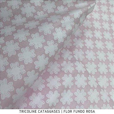 Tricoline Flor Rosa tecido Cataguases 100%Algodão - 1,40Largura