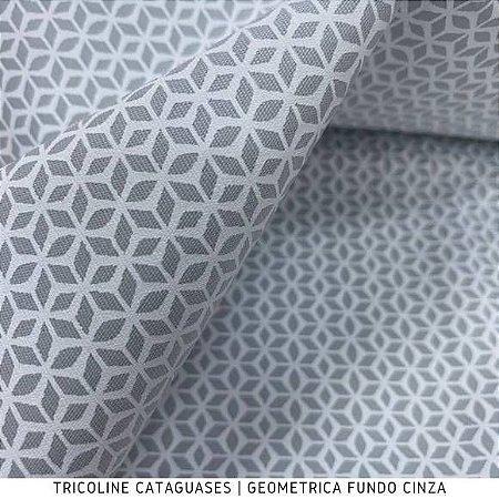 Tricoline Geométrico Cinza tecido Cataguases 100%Algodão - 1,40Largura