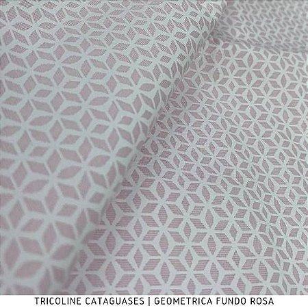 Tricoline Geométrico Rosa tecido Cataguases 100%Algodão - 1,40Largura