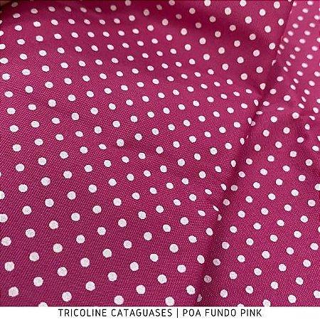 Tricoline Poá Pink tecido Cataguases 100%Algodão - 1,40Largura